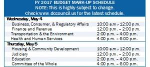 FY 2017 Budget Mark-Up Schedule