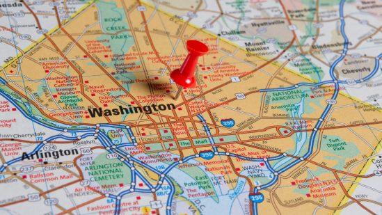 Pushpin in Map, Washington, DC
