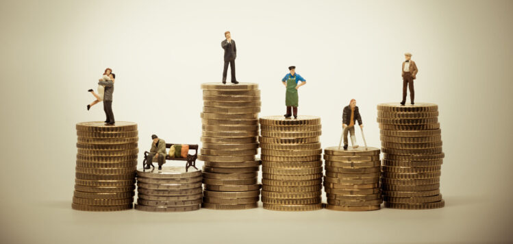 People from different social groups. Financial concept macro photo. Vintage color tone.