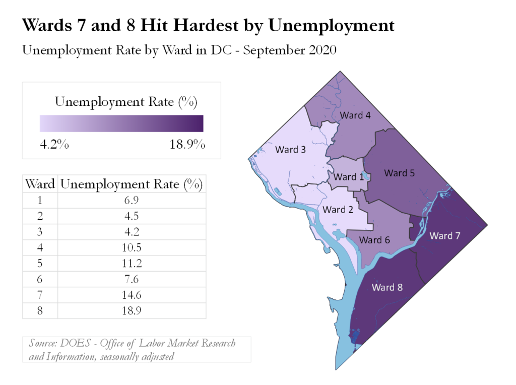 Heat map of DC by Ward. Pictures wards 7 and 8 (in dark purple) hit hardest by umemployment.