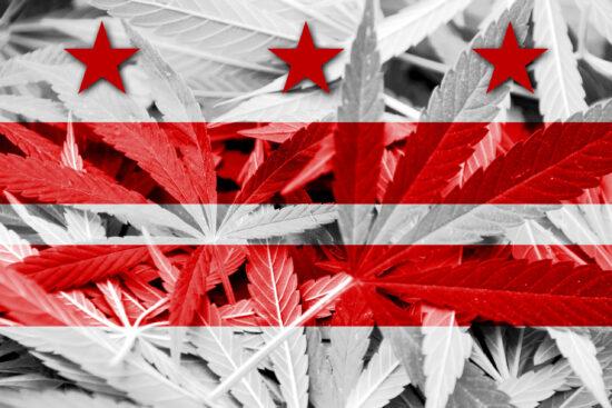 Washington DC Flag on cannabis background. Drug policy. Legalization of marijuana
