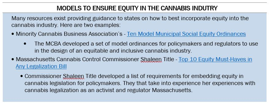 Text Box: Models to Ensure Equity in the Cannabis Industry