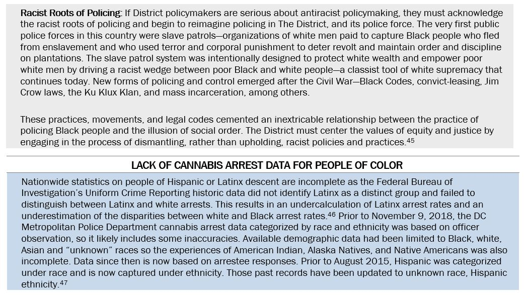 """Two text boxes. The first has a gray background and is titled """"Racist Roots of Policing."""" The second has a blue background and is entitled """"Lack of Cannabis Arrest Data for People of Color"""""""