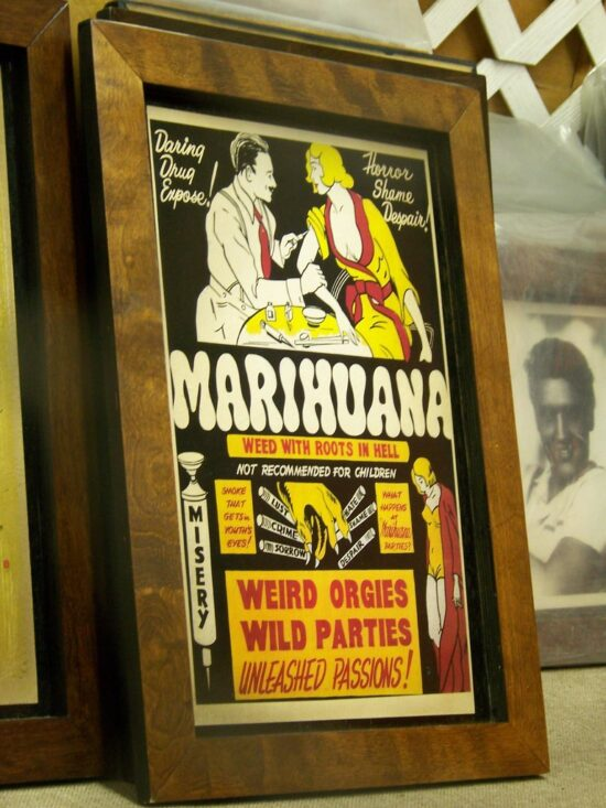 """""""Trip to Phoenix 2008"""" by Rusty Clark. Photos is licensed with cc by 2.0. (Photo of 1936 """"Marihuana"""" movie poster.)"""
