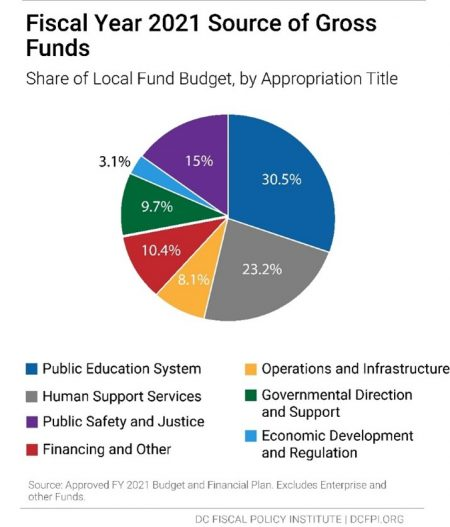 Pie Chart: Fiscal Year 2021 Source of Gross Funds (Share of Local Fund Budget, by Appropriation Title)