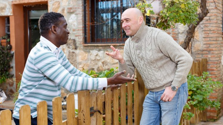 Two smiling male neighbors talking through wooden fence, discussing latest news